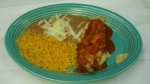 Chile Relleno - Served with rice and beans.